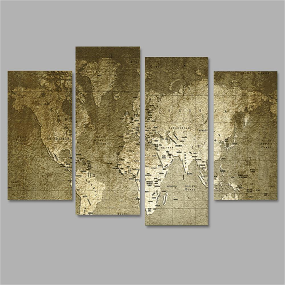 Trendy Old World Map Frameless Printed Canvas Wall Art Paintings 4PCS