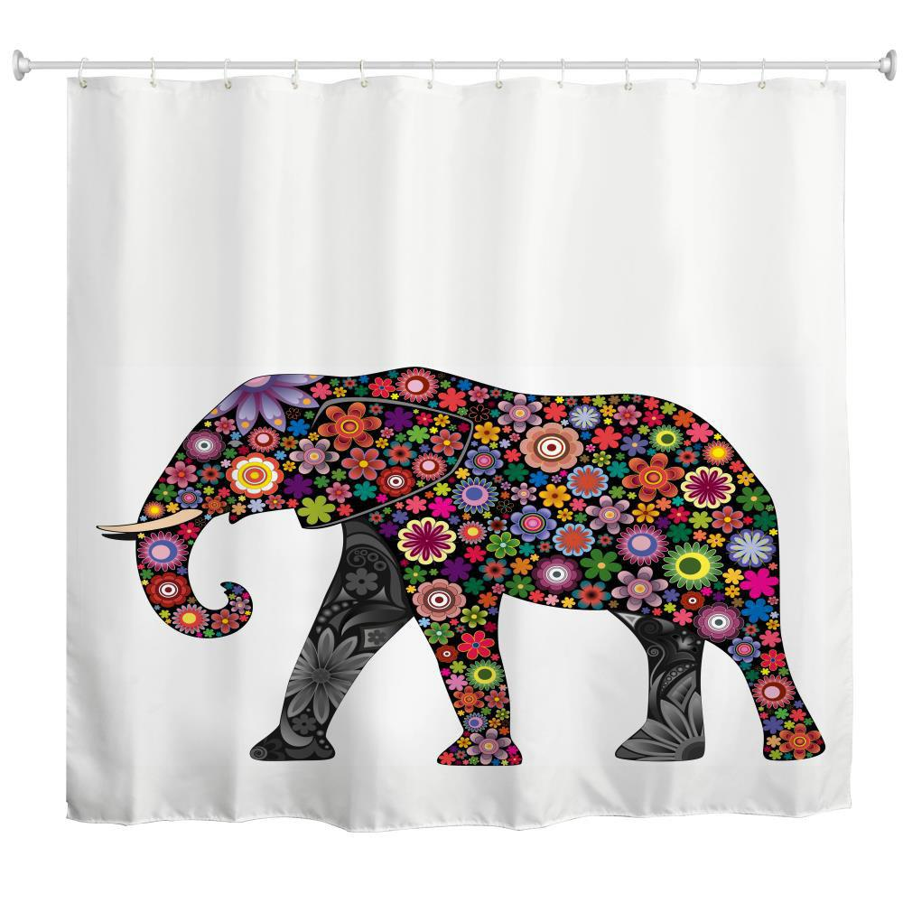 Discount Colorful Elephants Water-Proof Polyester 3D Printing Bathroom Shower Curtain
