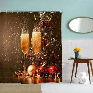 Festive Champagne Water-Proof Polyester 3D Printing Bathroom Shower Curtain -