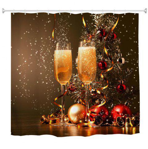 Online Festive Champagne Water-Proof Polyester 3D Printing Bathroom Shower Curtain