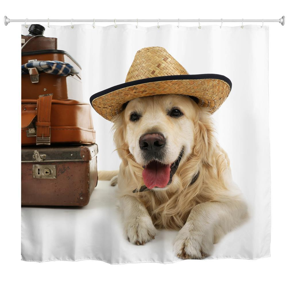 Best Puppy Traveller Water-Proof Polyester 3D Printing Bathroom Shower Curtain