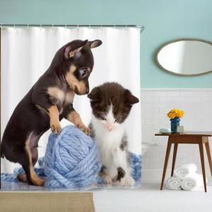 Cat and Dog Line Ball Water-Proof Polyester 3D Printing Bathroom Shower Curtain -