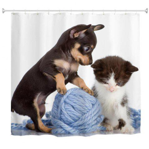Sale Cat and Dog Line Ball Water-Proof Polyester 3D Printing Bathroom Shower Curtain