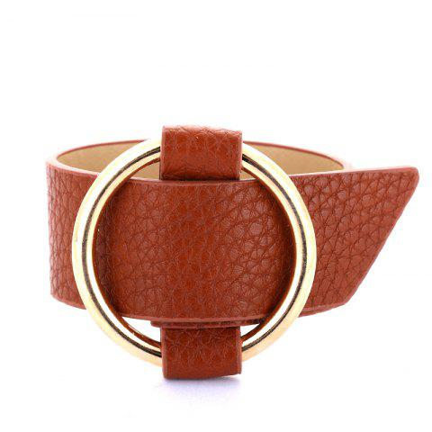 Trendy Charm Big Leather Bracelet Classic Alloy Round Adjustable Wide Leather Bracelet
