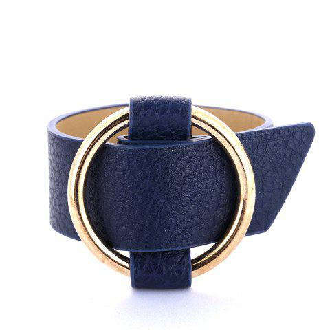 New Charm Big Leather Bracelet Classic Alloy Round Adjustable Wide Leather Bracelet