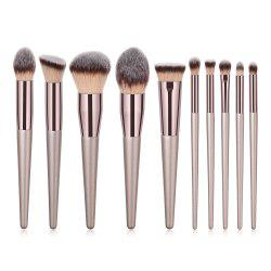 10PCS Champagne Gold Curry High End Make Up Brush -