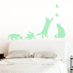 Noctilucent Engraving Adorable Naughty Cat Cartoon Switch Sticker Wall -