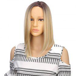 Synthetic Ombre Medium Straight Bob Hair Black Blonde Wigs with Skin for Girls -