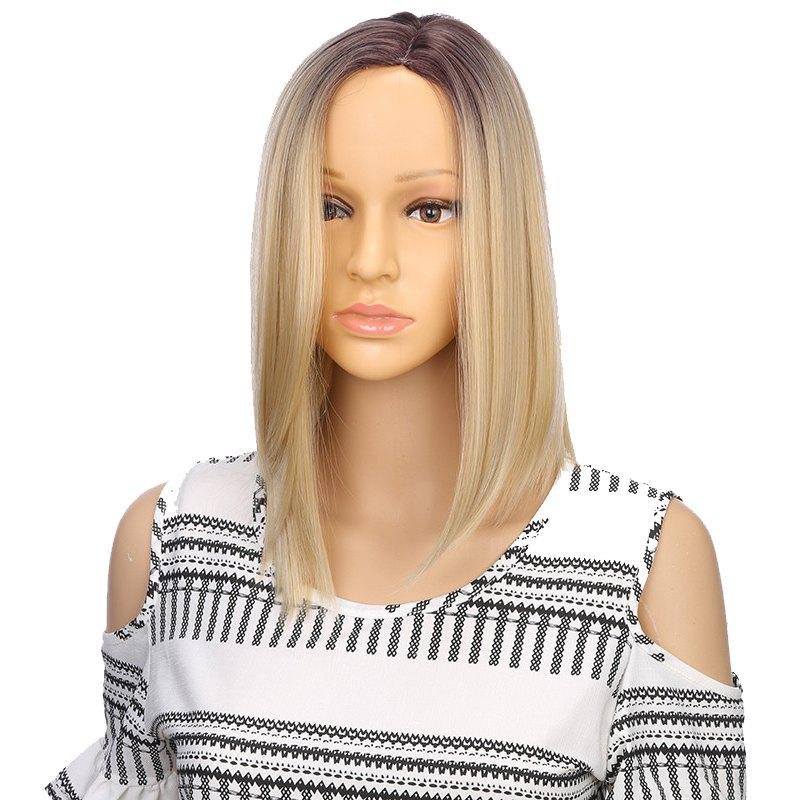 Discount Synthetic Ombre Medium Straight Bob Hair Black Blonde Wigs with Skin for Girls