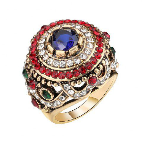 Latest PULATU Women'S High Quality Shiny Rhinestone and Resin Antique Metal Lace Ring