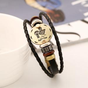 YEDUO 12 Constellations Men Zodiac Signs Punk Bracelet en cuir -