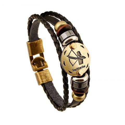 Sale YEDUO 12 Constellations Men  Zodiac Signs Punk  Leather Bracelet