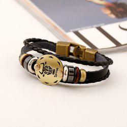YEDUO 12 Constellations Men  Zodiac Signs Punk  Leather Bracelet -