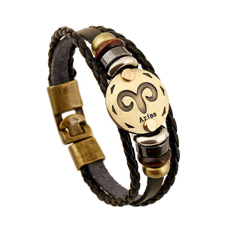 Discount YEDUO 12 Constellations Men  Zodiac Signs Punk  Leather Bracelet