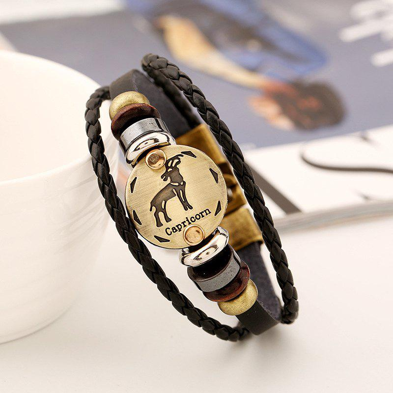 Fancy YEDUO 12 Constellations Men  Zodiac Signs Punk  Leather Bracelet