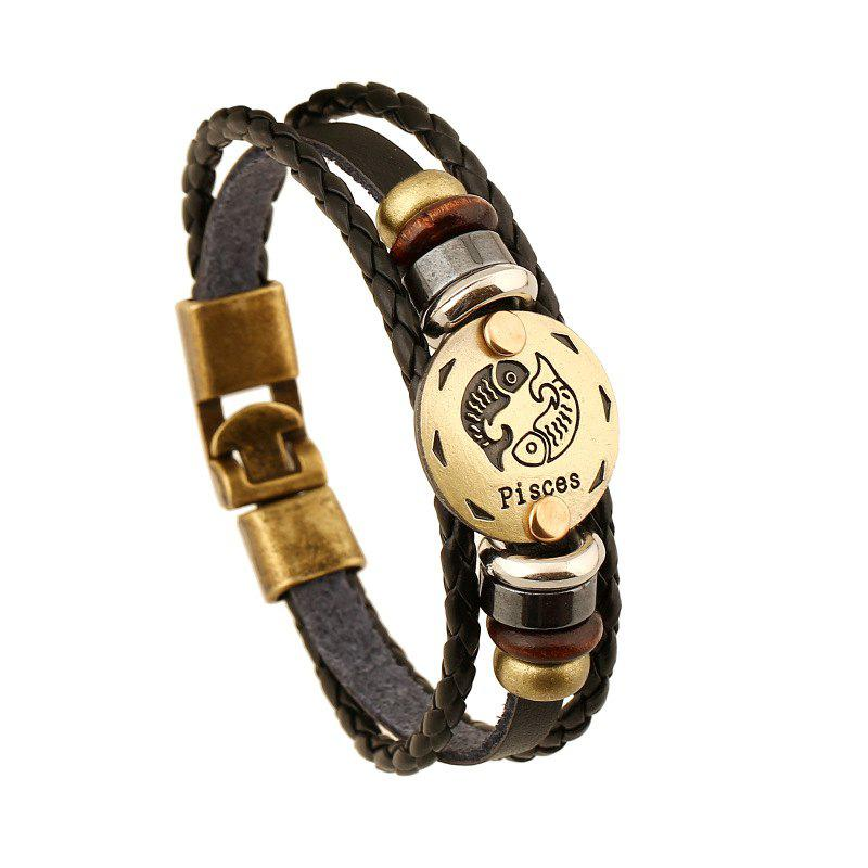 YEDUO 12 Constellations Men Zodiac Signs Punk Bracelet en cuir