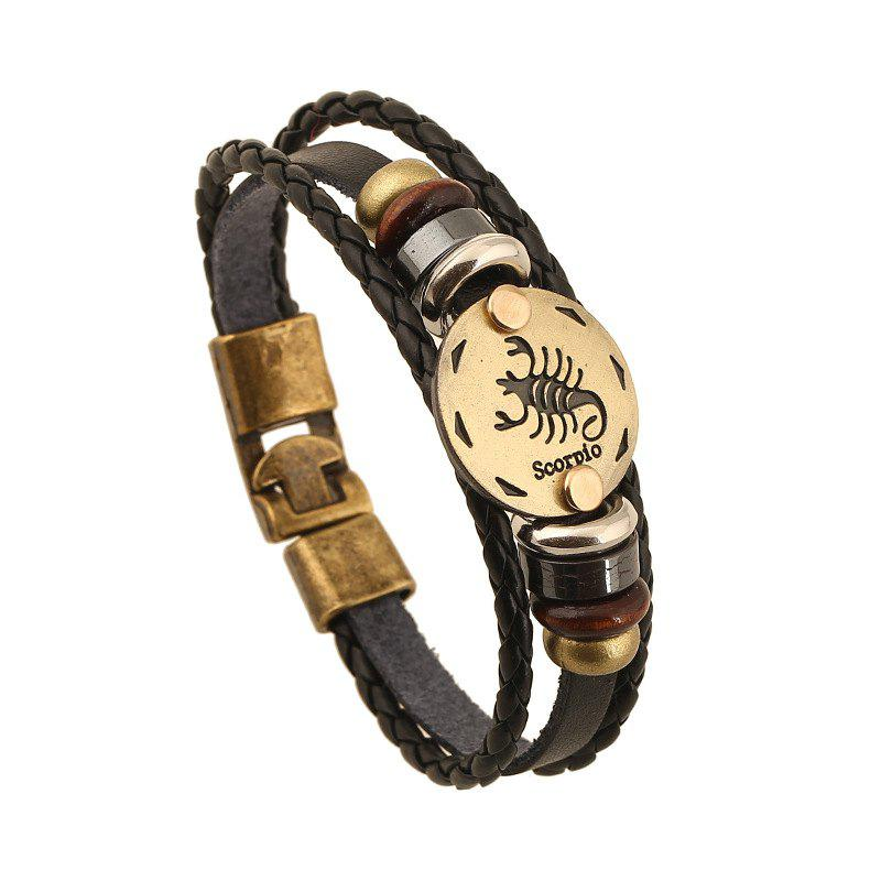 Outfit YEDUO 12 Constellations Men  Zodiac Signs Punk  Leather Bracelet