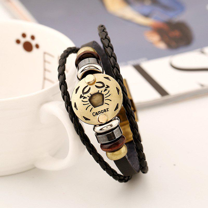 Outfits YEDUO 12 Constellations Men  Zodiac Signs Punk  Leather Bracelet