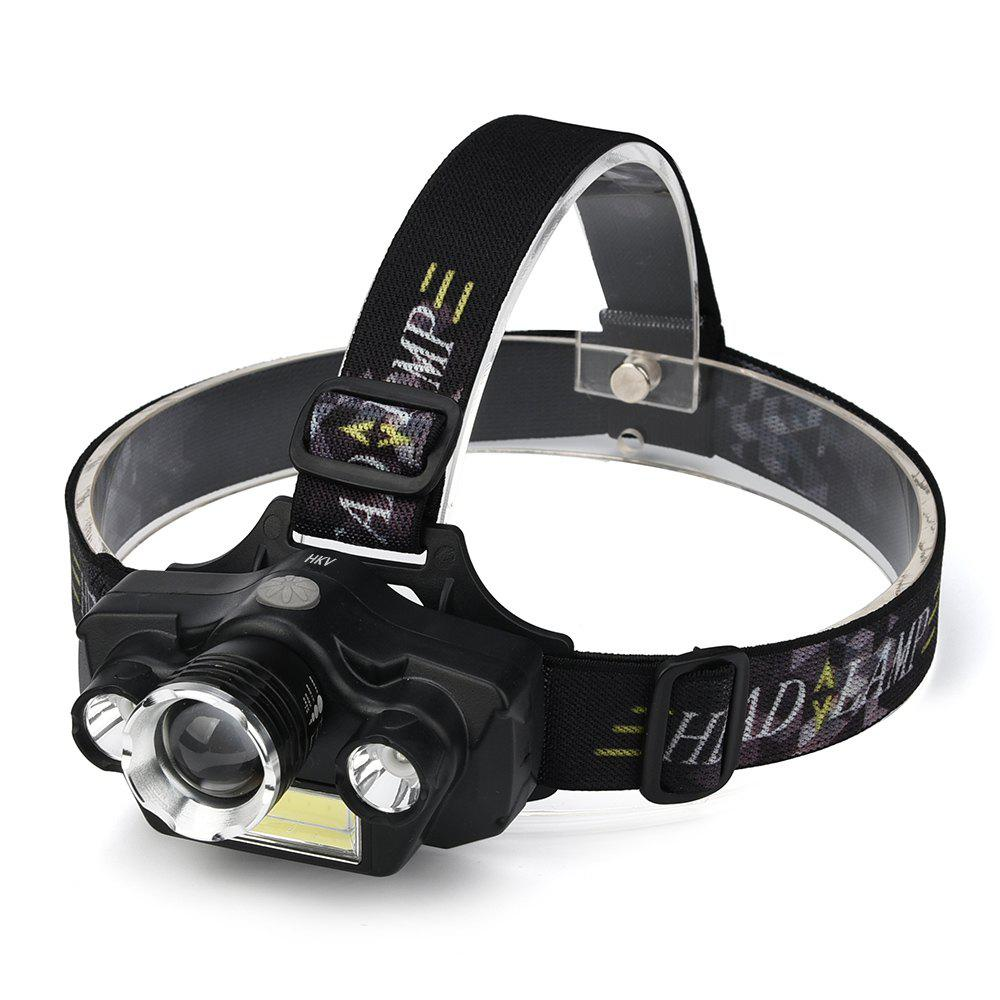 Latest HKV Outdoor Waterproof Headlamps COB LED Headlight Zoomable Tactical Lamp