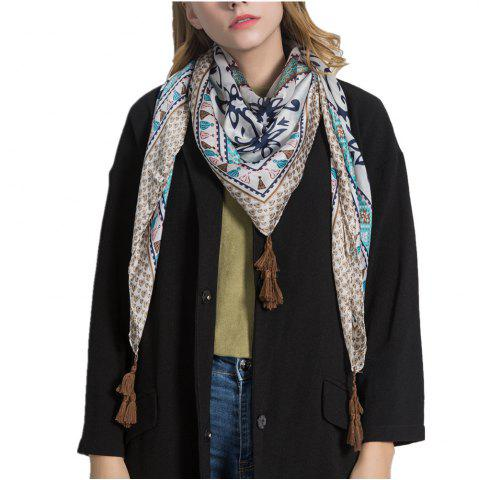 Online F1010 Blue Patchwork Colorful Silk Scarf Cape Scarves Wrap