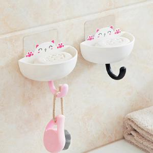 Fat Cat Soap Box with Hook Home Articles Storage Dish Rack 2PCS -