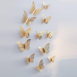 12pcs 3D papillons creux bricolage Home Decor Wall Sticker -