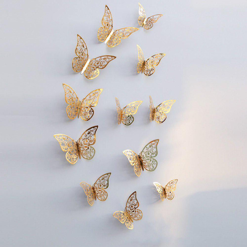 12pcs 3D papillons creux bricolage Home Decor Wall Sticker