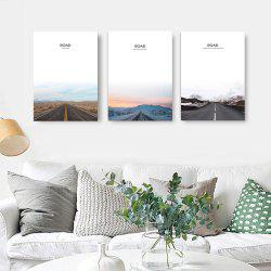 W311 Road Unframed Wall Canvas Prints for Home Decorations 3PCS -