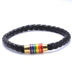 Black Brown Genuine Braided Leather Bracelet Women Men Stainless Steel Gay -