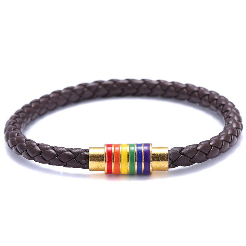 Outfits Black Brown Genuine Braided Leather Bracelet Women Men Stainless Steel Gay
