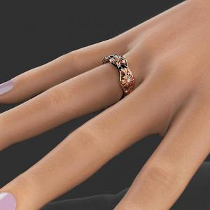 Rose Gold Flower Hollow Zircon Ring -