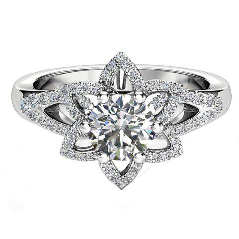 Outfits Micro Full Diamond Flower Hollow Crystal Zircon Ring