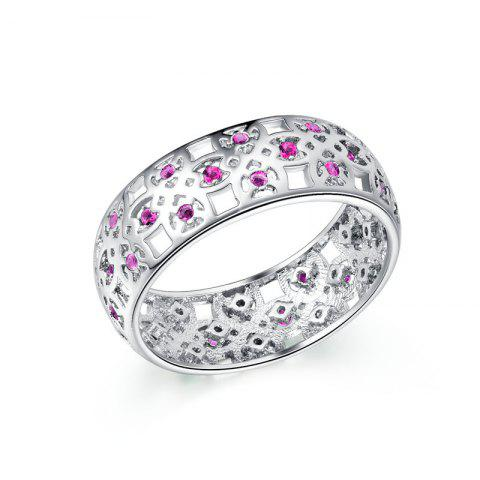 Sale Fashion Hollow Pattern Platinum-plated Zircon Ring