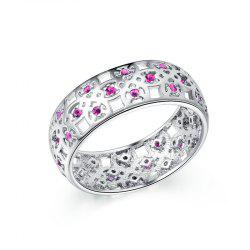 Fashion Hollow Pattern Platinum-plated Zircon Ring -