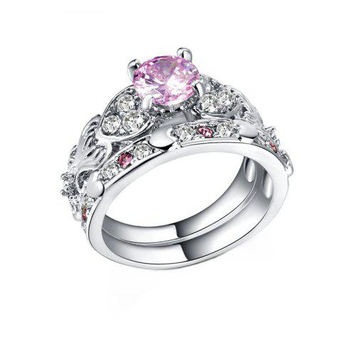 Fancy Hollow Heart-shaped Artificial Diamond Couple Ring