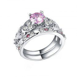 Hollow Heart-shaped Artificial Diamond Couple Ring -