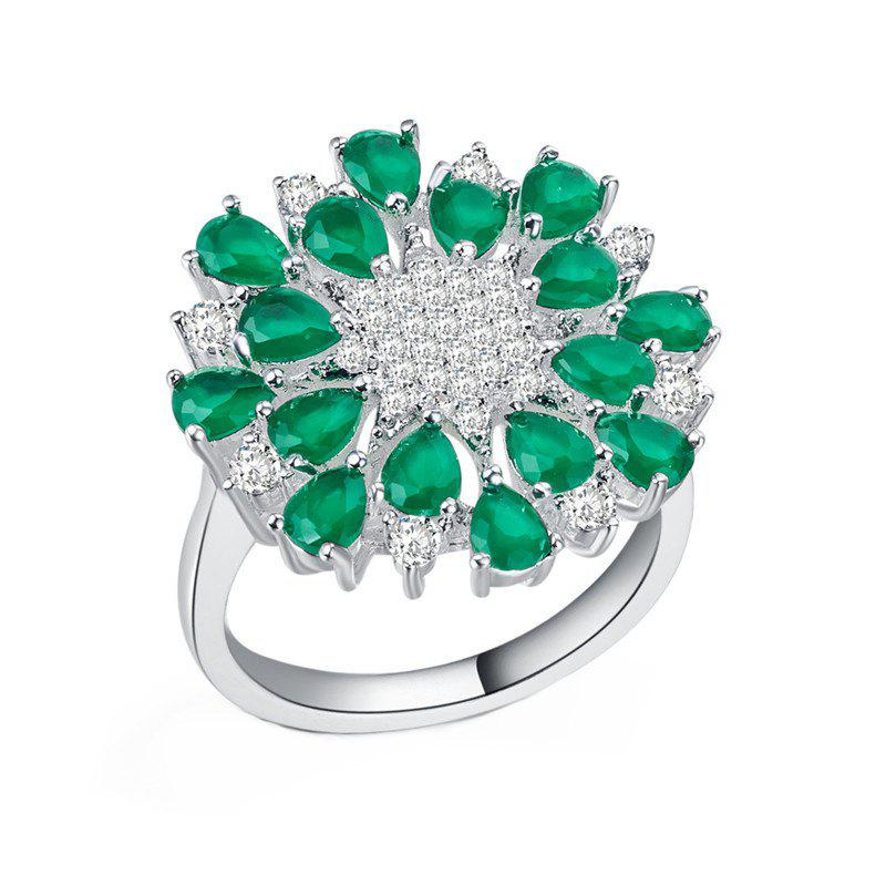 Sale Luxury Creative Artificial Diamond Flower Crystal Ring