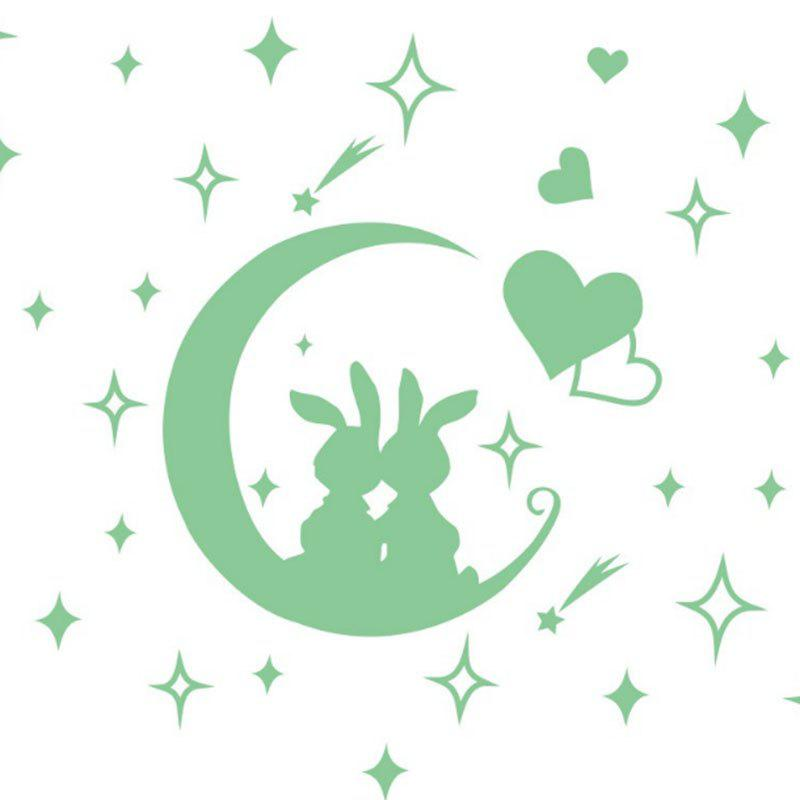 Unique Removable Cute Children Bedroom Moon Rabbit Cartoon Fluorescent Wall Sticker