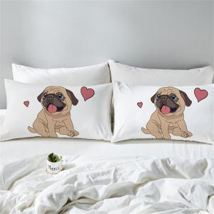Hippie Pug  Animal Cartoon Decorative Pillow Case -