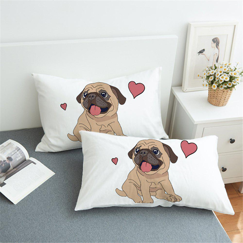 Unique Hippie Pug  Animal Cartoon Decorative Pillow Case