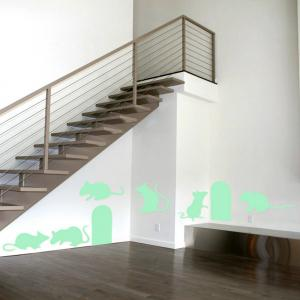 Noctilucent Engraving Adorable Rat Cartoon Switch Wall Sticker -