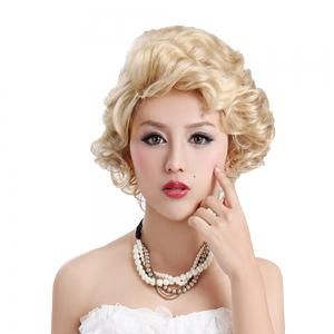 Synthetic Light Blonde Short Curly Hair Charming Cosplay Dancing Party Wigs -