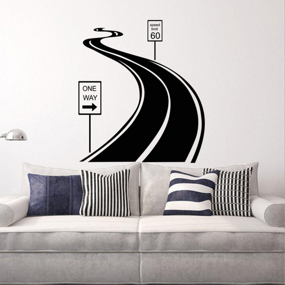 Best Black Road Personality Creative Removable Wall Sticker