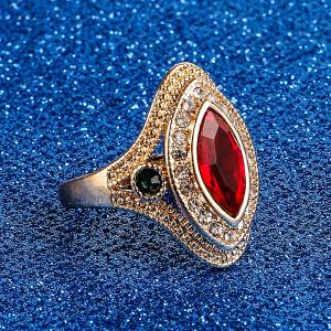 PULATU Women's Horse Eye Rhinestone Resin Gold Color Ring -