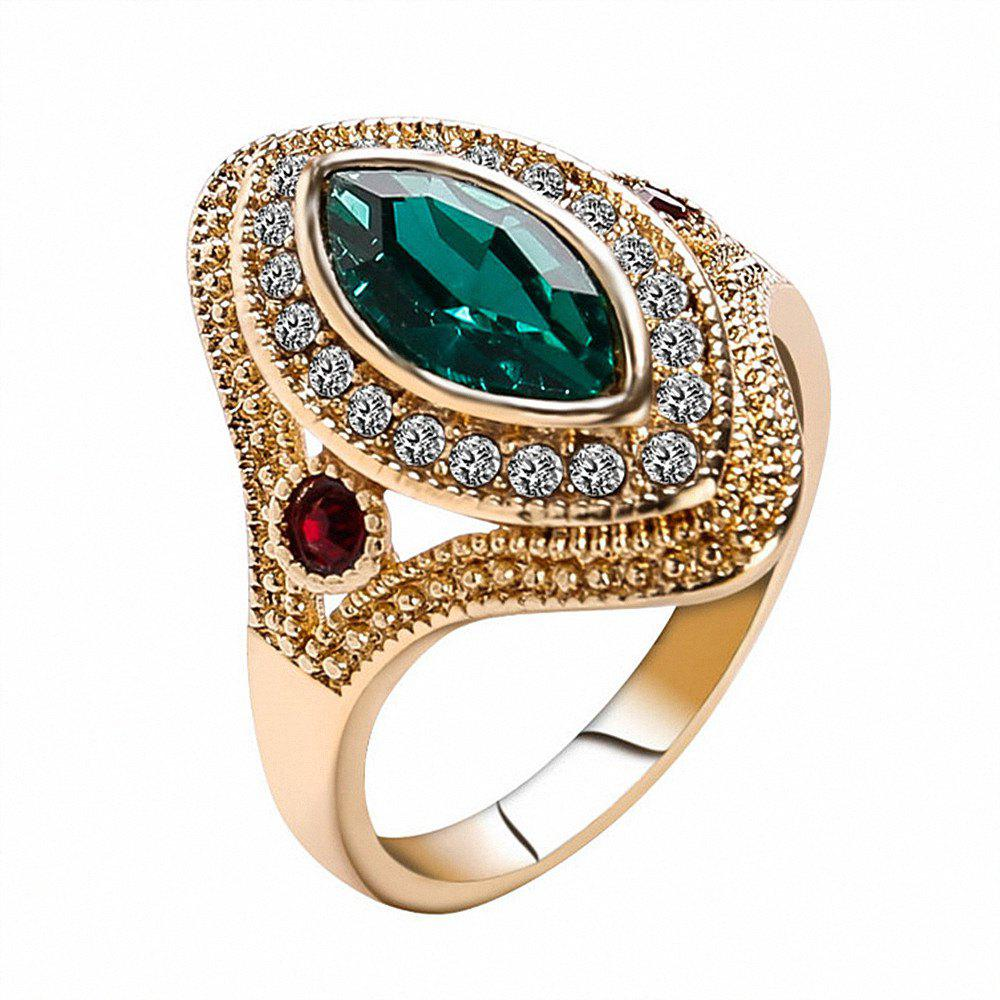 PULATU Women's Horse Eye Rhinestone Resin Gold Color Ring
