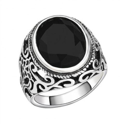 Outfits PULATU 4 Colors Resin Totem Carved Silver Color Metal Finger Ring