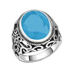 PULATU 4 Colors Resin Totem Carved Silver Color Metal Finger Ring -