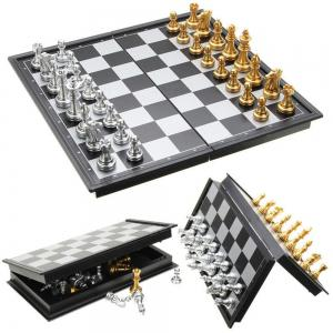 Chess Game Silver Gold Pieces Folding Magnetic Foldable Board Contemporary Set -