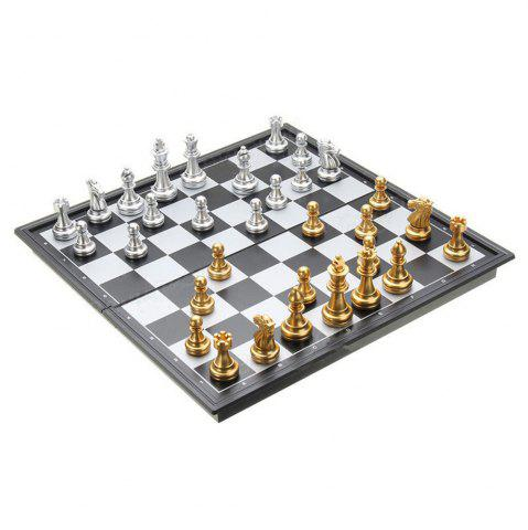 Fashion Chess Game Silver Gold Pieces Folding Magnetic Foldable Board Contemporary Set