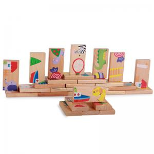 Animal Colored Dominoes Wooden Puzzle Cartoon Educational Baby Toy -